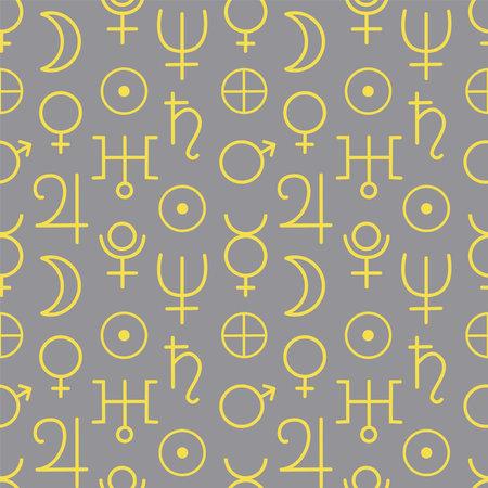 Seamless pattern astrological planet symbol