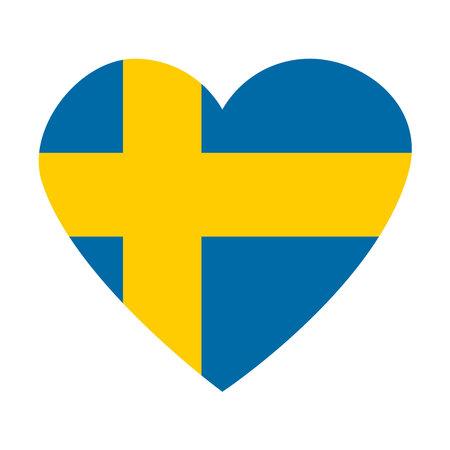 Heartshaped flag of Sweden symbol