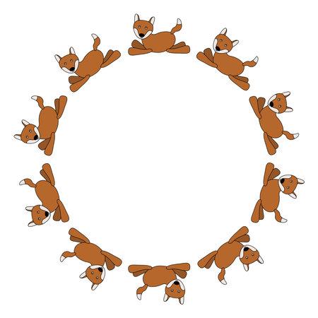 Frame of cute cartoon foxes