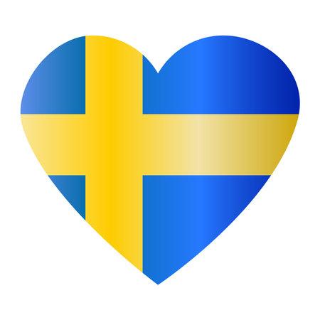 Heartshaped shiny flag of Sweden