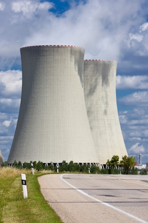 temelin: Nuclear power plant Temelin road Stock Photo