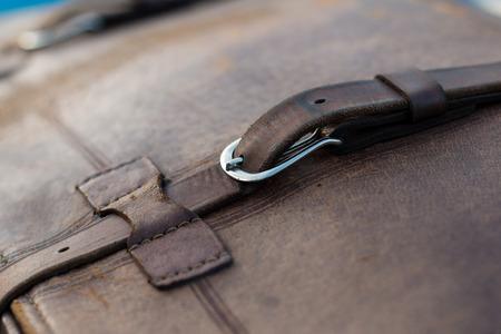 details: vintage car detail - leather boot suitcase