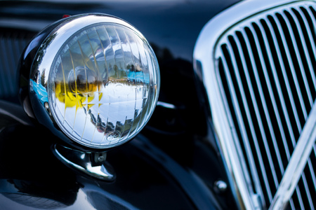 headlamp: vintage car detail - headlamp grille
