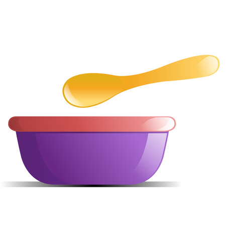 Purple and Pink Baby Bowl with Yellow Spoon Vector