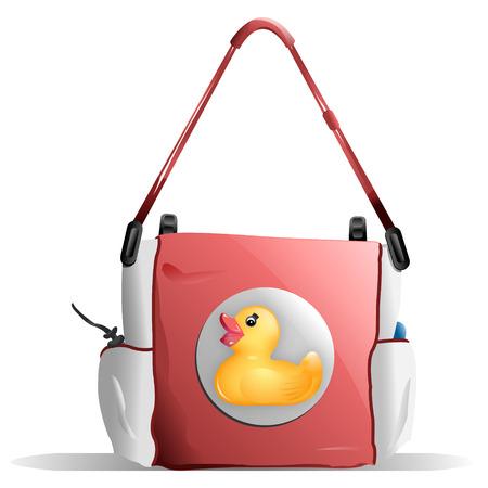 오리 디자인을 가진 핑크 기저귀 가방 일러스트