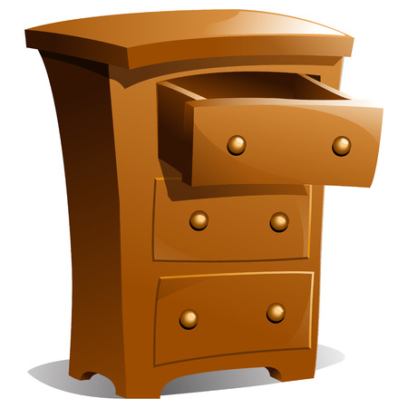 drawers: Brown Wood Dresser with Top Drawer Open Illustration
