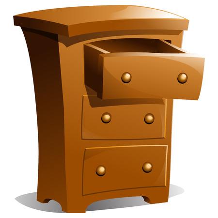 ladenkast: Bruine houten dressoir met top lade openen