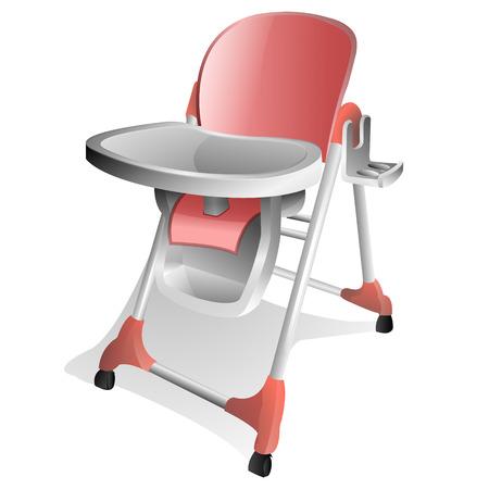 high chair: Rosa y blanco Baby alto con bandeja  Vectores