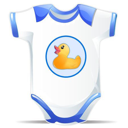 White and Blue Baby Ones Outfit with Duck Design