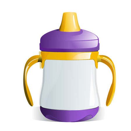suckling: Purple and Yellow Baby Sippy Cup with Handles