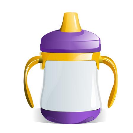 suckling: Viola e giallo Sippy Cup con Handles per bimbi Vettoriali