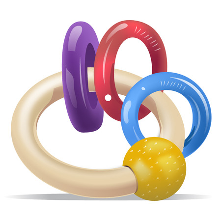 Purple, Red, Blue and Yellow Baby Rattle Rings