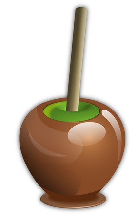 caramel  covered candy green apple with wooden stick Stok Fotoğraf