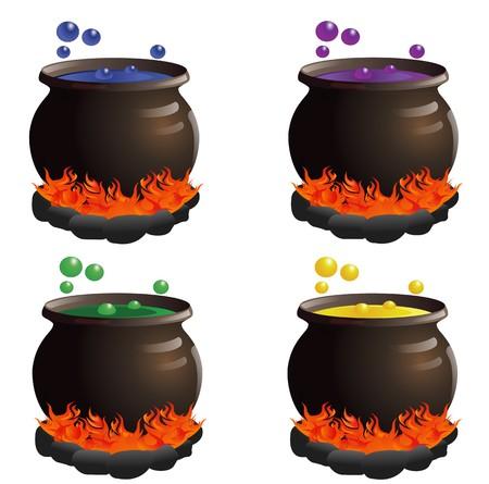 pocion: Cuatro calderos en una variedad de colores
