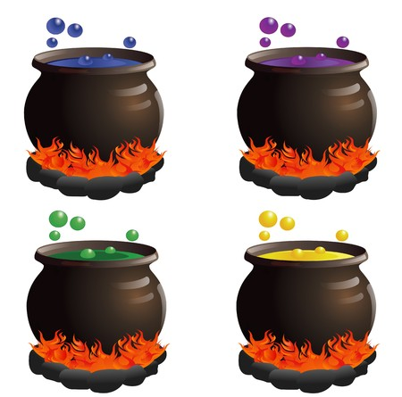Four cauldrons in a variety of colors