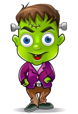 cute halloween: Cute Halloween Frankenstein Character Graphic