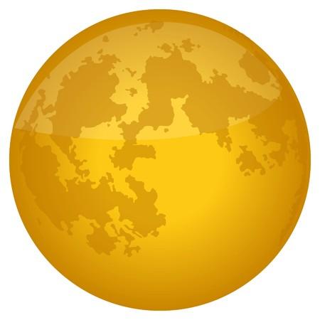 분화구 세부 사항이있는 밝은 노란색 보름달