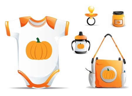 Halloween Baby items including onesie, sippy cup, pacifier, pumpkin baby food and diaper bag