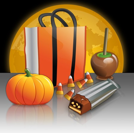 Halloween Treat Bag, Candy, Pumpkin and Caramel Apple