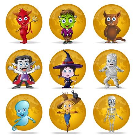 loup garou: Un ensemble de neuf Halloween caract�res n avant de pleine lune