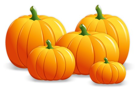 pumpkin seeds: Five pumpkins in various sizes