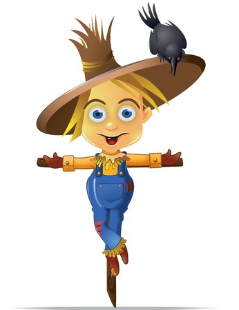 A Cute Scarecrow with a Black Crow Character Graphic