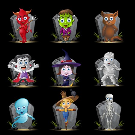 tombstone: A set of nine Halloween characters n front of a tombstone. Stock Photo