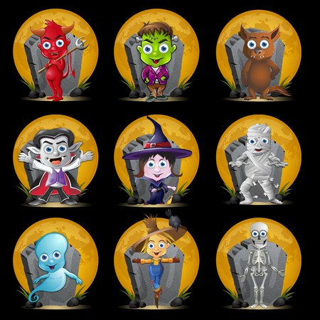 halloween cartoon: A set of nine Halloween characters n front of a full moon and tombstone.
