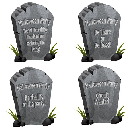 A set of four Halloween party tombstones with cute messages Stok Fotoğraf