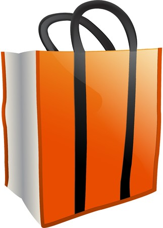 Orange and White Trick-or-treat bag with Black Handles