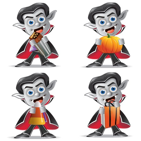 A set of four vampire icons holding various objects including a candy bar, pumpkin, candy corn and treat bag
