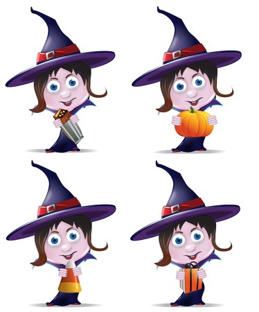 A set of four witch icons holding various objects including a candy bar, pumpkin, candy corn and treat bag Stok Fotoğraf