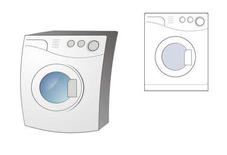 dish washing: Immagine vettoriale stilizzata della lavatrice