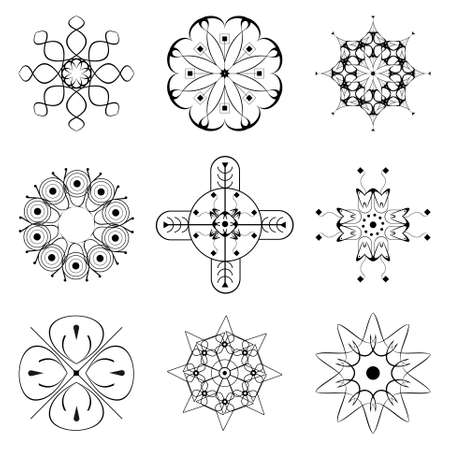 bw: Set of vector floral b&w patterns, stylized stars and crosses Illustration