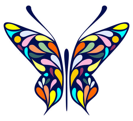 mottled: Mottled butterfly on white background - vector illustration. Stained glass. Illustration