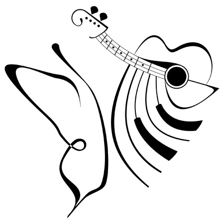 guitars: Vector abstract composition with butterfly, guitar and piano