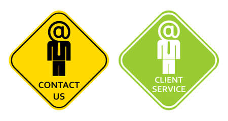 Client service and contact us signs. Vector stylized email buttons. Vector