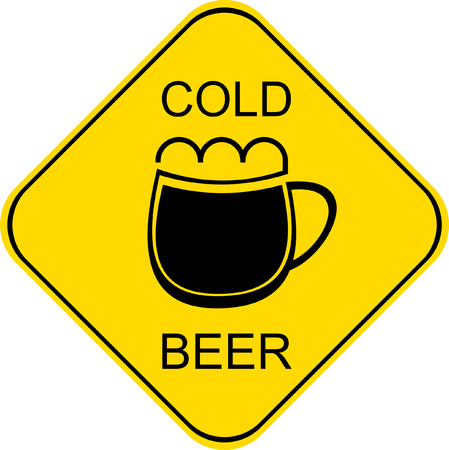 workday: Vector stylized sign with glass of cold beer. Workday end, cold beer. Traffic signs, road sign.