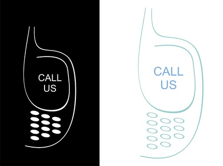 telephonist: Stylized vector icon - contact us cellphone