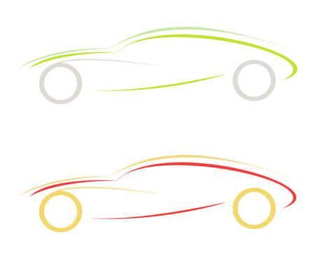 sportive: stylized vector illustration of sport car. emblem. design element Illustration