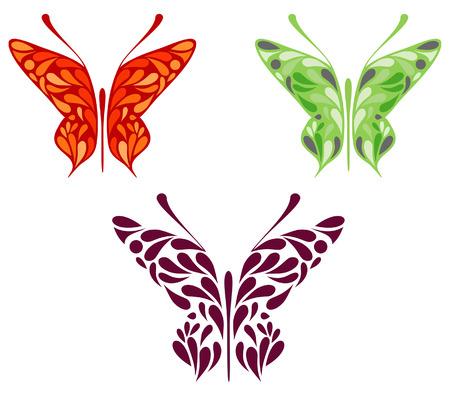 Motley papillons - stylisée modèle vectoriel abstrait, décoration, élément de design.