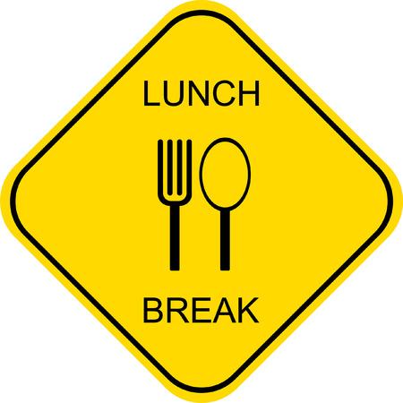 lunchen: Lunchpauze. Uit voor de lunch - vector teken.  Stock Illustratie