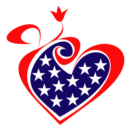 Vector stylized image of american flag and heart. Design element, decoration. Stock Vector - 5219468