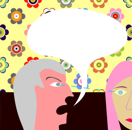 said: Angry man yells at a woman. Vector illustration