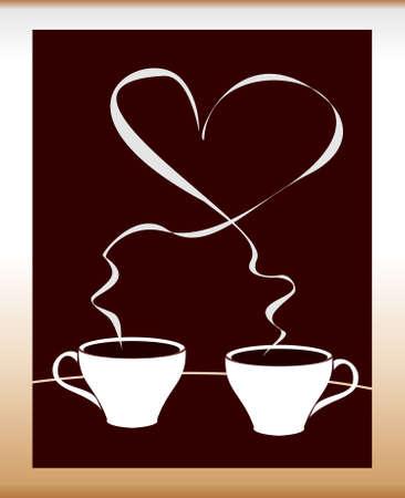 cappucino: Twee gestileerde kopjes koffie. Stock Illustratie