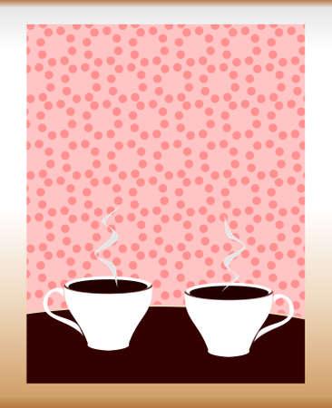 cappucino: Twee kopjes koffie op roze achtergrond gestileerd. Vector illustratie.