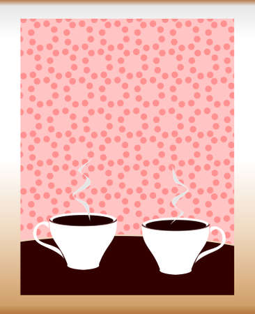 Two stylized cups of coffee on pink background. Vector illustration.  Vector