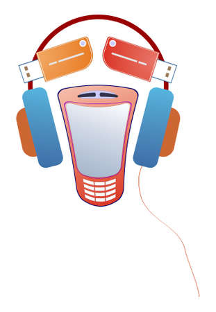 ludicrous: Vector funny face composed of mobile telephone, flash-card and earphones. Illustration