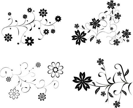 bidding: Set of vector floral patterns - stylized tattoo