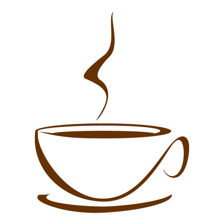 Vector stylized image of coffee cup.  Vector
